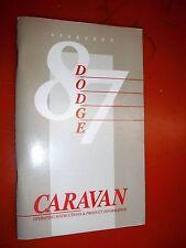1987 DODGE CARAVAN ORIGINAL FACTORY OPERATORS OWNERS MANUAL GLOVE BOX
