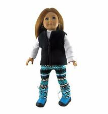 Doll Clothes Fleece Vest+Shirt+Print Leggings AQ+Boots Fit 18 inch American Girl