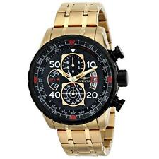 Invicta 17206 Men's Aviator Chrono Black Dial Gold Plated Steel Bracelet Watch