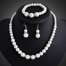Wedding Jewelry Set, Bridal Jewellery, Fx Pearls, Necklace,Bracelet and Earrings