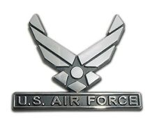US Air Force Wings Chrome Metal Auto Emblem Car Decal Sticker New USAF Logo