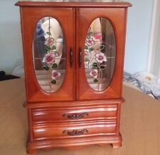 Vintage Wooden JEWELLERY BOX Wardrobe 2 Drawers necklace hangers ring holders