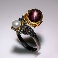 Elegant fine art Star Ruby 925 Sterling Silver Ring FREESIZE