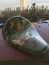 Army Camo Leather Motorcycle Seat Chopper Bobber Harley Rich Phillips Leather Gr