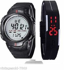 LED COMBO 2 Waterprof Mens Digital LED Quartz  Date Sports Watch