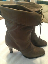 Joyce of California Taupe Tan Mid Calf Leather Women's Boots SZ 7.5 M