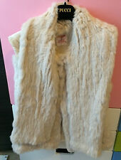 MATTHEW WILLIAMSON BEIGE RABBIT FOX REAL FUR GILET VEST