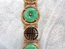 1950's Estate Natural Jade Chinese Symbol bracelet 14kt