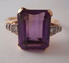 14K Solid Yellow Gold Emerald Cut Amethyst Diamond Accents SZ 8 3.5 Gr by PALL