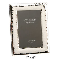 """Chunky Shiny Silver Hammered Photo Picture Frame Frames 6x4"""" Portrait Landscape"""