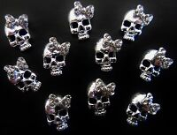 BLinG 3D Alloy Metallic Halloween Nail Art Silver *Skulls* with Rhinestone Bow