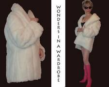 LUXURIOUS IVORY OFF WHITE FAUX-FUR JACKET COAT SILK LINING STRIPED DESIGN S MP