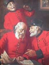 MILITARY POSTCARD -THREE LAUGHING CHELSEA PENSIONERS BY J GOUGH