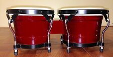 """Bongos Red  6-3/4"""" & 7-3/4"""" Drums Natural Solid Wood W/ Real Skin Heads"""