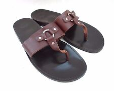 VINTAGE COACH MEN'S BROWN LEATHER SANDALS THONGS SIZE 13 D MADE IN ITALY