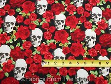 Skulls Bone Heads & Red Roses on Black BY YARDS Timeless Treasure Cotton Fabric