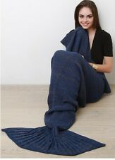 DESIGNER INSPIRED NAVY TWO TONE MARLED KNIT COZY MERMAID TAIL THROW BLANKET