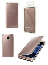 Genuine Official Samsung Galaxy S7 Edge Rose Gold / Pink Clear View Case Cover