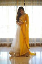 Indian Stylish Designer Bollywood Party Yellow Anarkali Salwar Suit Kameez Dress