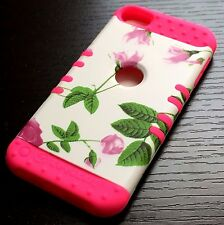 For iPod Touch 5th & 6th Gen - HYBRID HIGH IMPACT CASE COVER HOT PINK FLOWERS