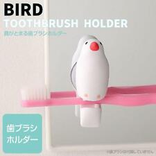 Bird Shaped Cute Suction Cup Toothbrush Clip Holder (Java Sparrow / White)