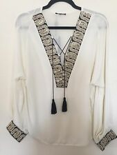 NEW BRIEFLY PARIS  IVORY & GOLD EVENING DAY PARTY TOP SHIRT BLOUSE SIZE UK14/16
