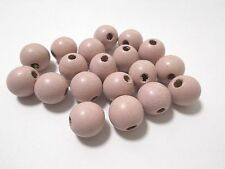 20pcs 18mm WOODEN Round Spacer Wood Beads - PALE BABY PINK