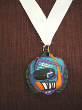 colorful rubber HOCKEY medal with white neck ribbon trophy