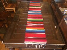 "Satillo or Serape Style Acrylic Mexican Long Table Runner 14"" by 72"" Red"