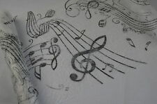 Tischband Tischläufer Vlies Tischdeko Musik Noten weiß schwarz