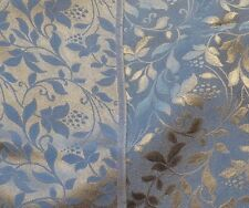 Blue and Pewter 100% Silk Jacquard Crepe - Floral Vine Design!!