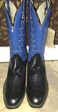 HANDMADE WOMENS OLATHE  COWBOY LEATHER BLACK BLUE BOOTS SIZE 9.5 D NEW SAC