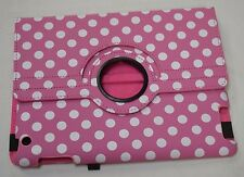 Apple iPad Case Cover & Stand Pink White Polka Dot