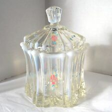 Fenton Glass Candy Box French Opalescence Vulcan Jar Dish Lidded Bowl Floral