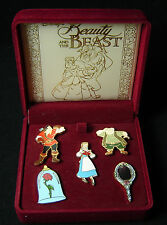 Beauty and the Beast 5 Pin Box Set Disney Pin Gaston Rose Belle Mirror Maurice