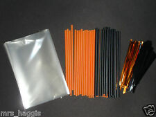 "50 X 4.5"" ORANGE & BLACK HALLOWEEN CAKE POP KIT LOLLIPOP KIT  STICKS BAGS & TIES"