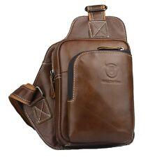 Men Messenger Genuine Leather Shoulder Satchel Crossbody  Sling Bag Brown/Black