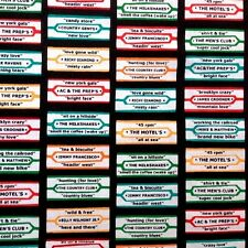 Arnold's Diner Retro Jukebox Song Title Labels Cotton Fabric by the Yard