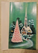 Vintage Unused Xmas Greeting Card Pink Christmas Tree Church Green Background