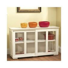 White Kitchen Island Modern Wood Storage Cabinet Center Table Sliding Glass Door