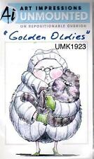 New ART IMPRESSIONS RUBBER STAMP Cling Golden Oldie Twins Lady w matching cat