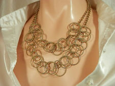 W Signed Vintage 1980s-More Modern Gold Tone Necklace  694A4