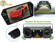 "7"" Bluetooth MP5 Rearview Mirror Monitor+3 in 1 Car Parking Sensor Backup Camera"