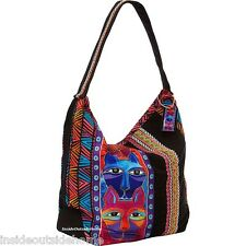 Laurel Burch Stacked Whiskered Cat Large Hobo Scoop Tote Bag New