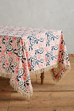 "NEW ANTHROPOLOGIE PEHR PINK SCATTERED SHOWERS RECTANGLE TABLECLOTH 120"" X 72"""