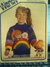 Knitting Pattern girls round neck rainbow brite motif sweater jumper wendy 2824