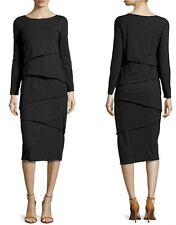 New Neon Buddha Size S Stretch Black Tier METRO Dress Long Sleeve Midi Length