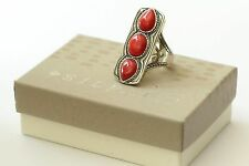 """Silpada """"Deep Sea"""" Large Coral Sterling Silver Size 8 Statement Ring R3265"""