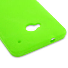 For HTC One M7 Neon Green Case Silicone Soft Rubber Skin Phone Cover