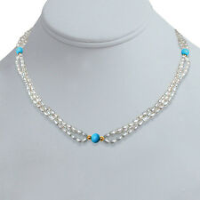 Three Line Real Rice Pearl, Blue Turquoise Beads & Gold Plated Beads Necklace